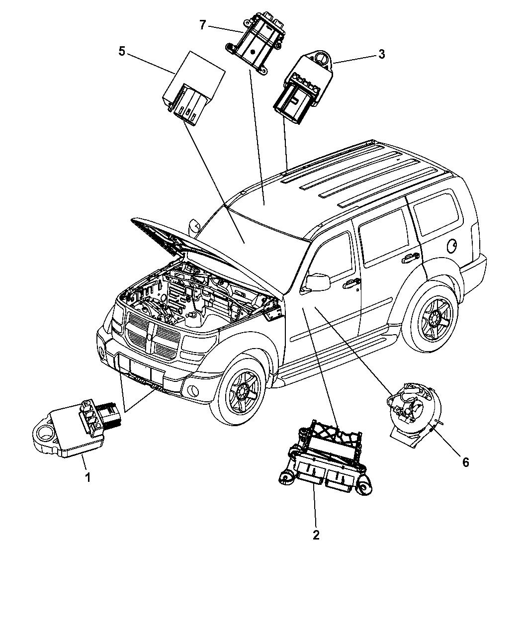 2008 Jeep Liberty Air Bag Modules Impact Sensor & Clock