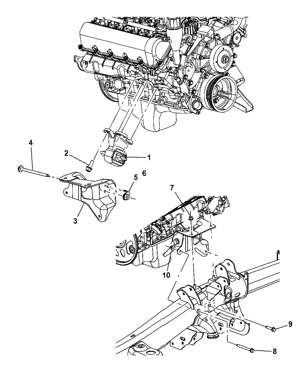 52855236aa genuine mopar bracket engine mount 2004 dodge durango heater core 2004 dodge durango engine diagram #11