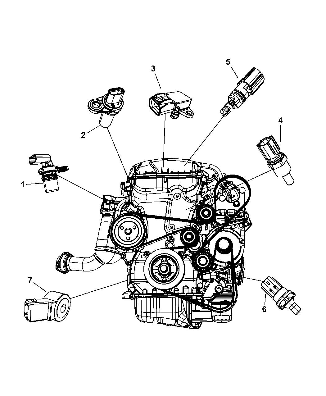 2008 dodge avenger sensors engine mopar parts giant rh moparpartsgiant com 2008 dodge avenger 2.4 engine diagram