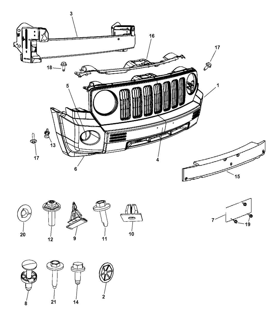 2008 jeep patriot fascia front mopar parts giant rh moparpartsgiant com