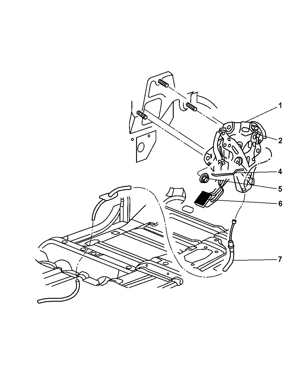 2003 Dodge Ram 1500 Parking Brake Lever & Front Cable