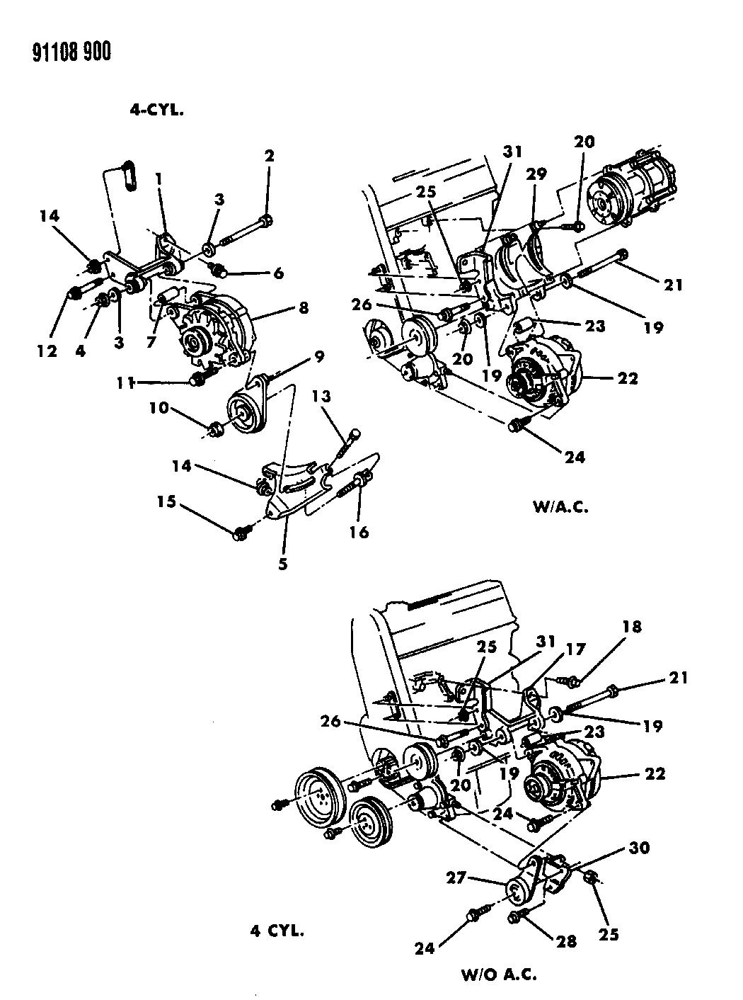 1991 Chrysler Lebaron Gtc Alternator Mounting Wiring Diagram Thumbnail 1