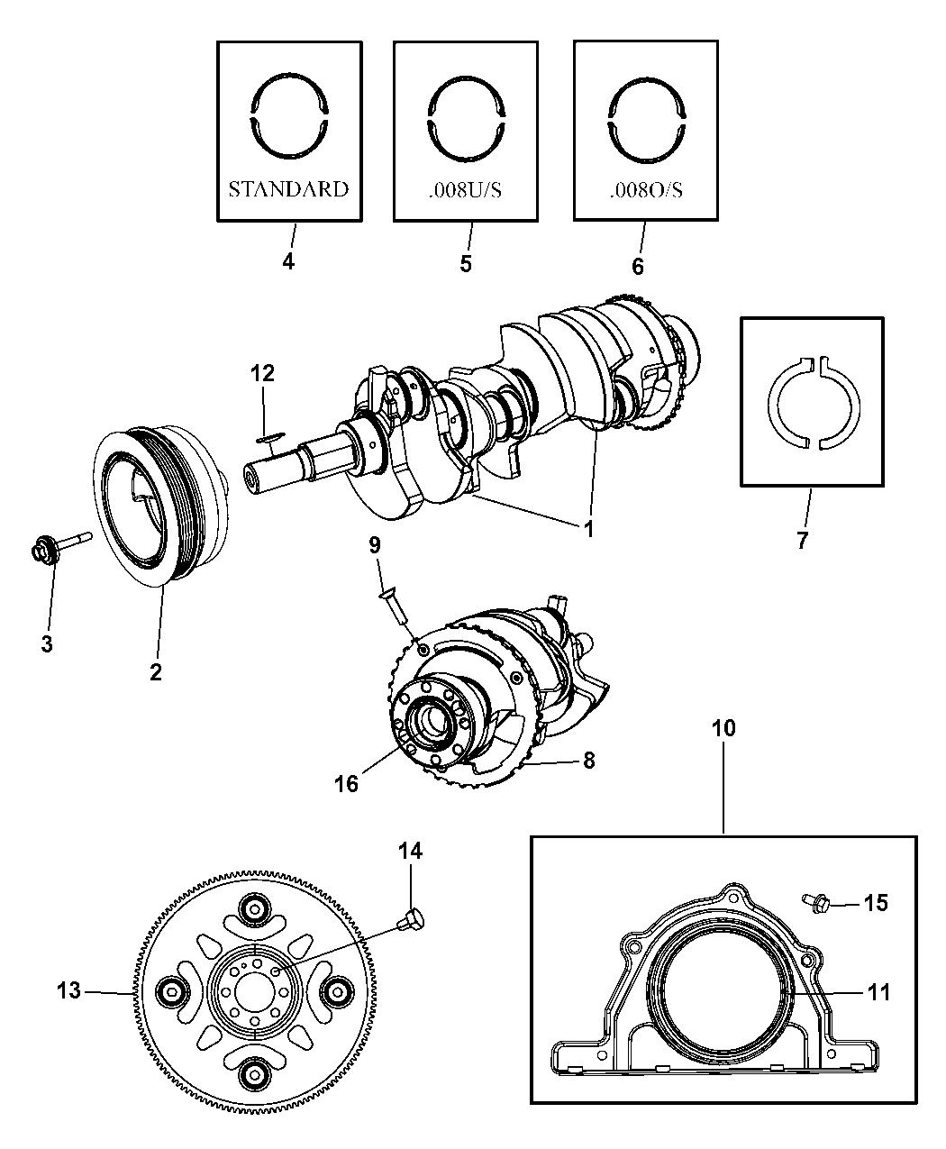 2008 Jeep Grand Cherokee Crankshaft Bearings Damper Engine Diagram Flywheel Drive Plate And