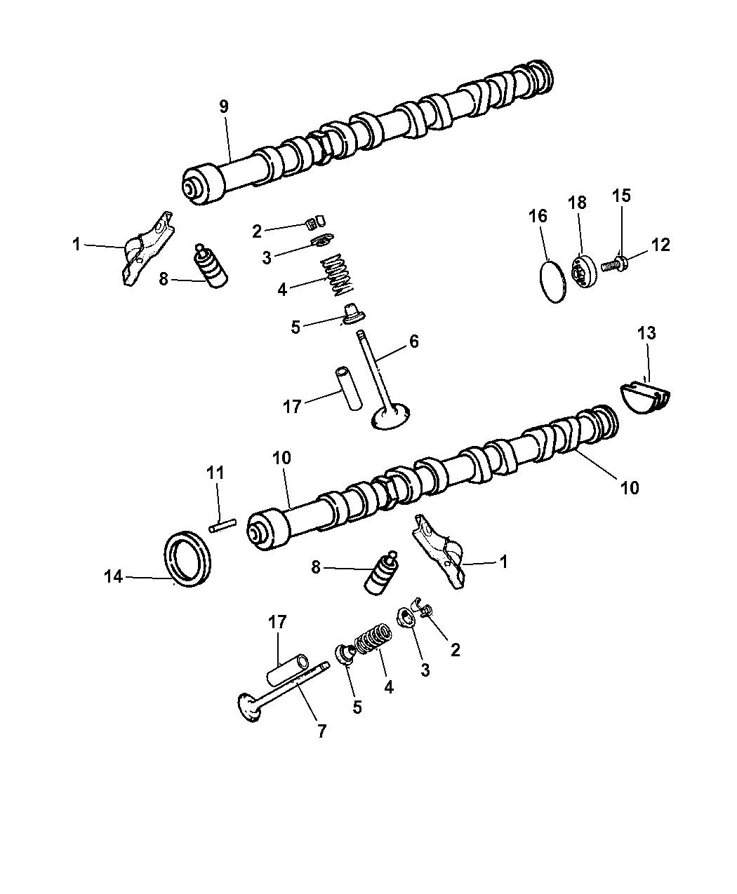2009 Chrysler Pt Cruiser Camshaft Valvetrain Engine Diagram Thumbnail 1