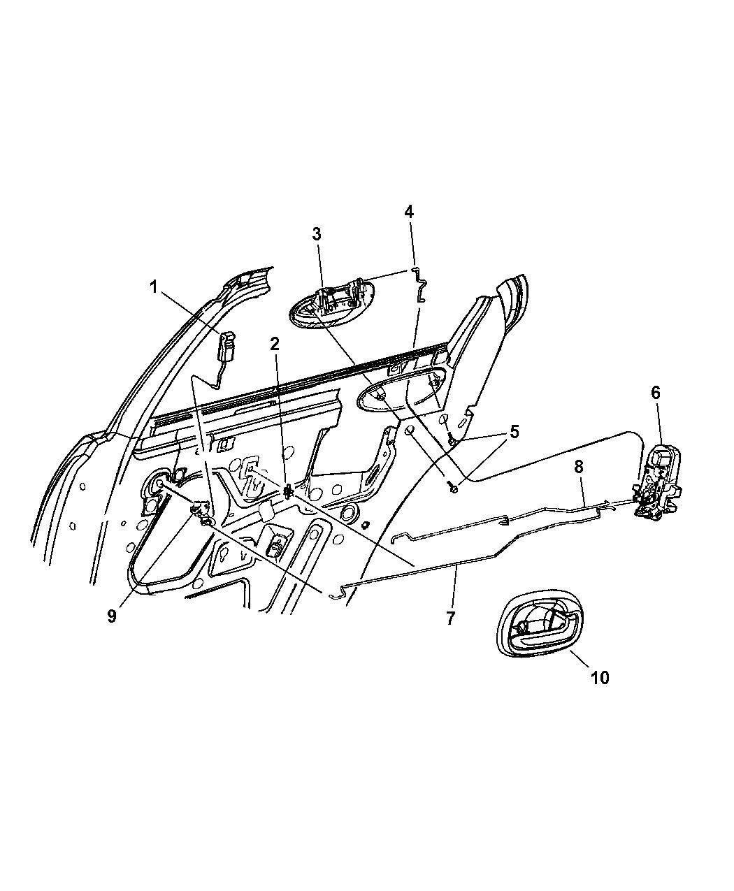 2001 Chrysler Sebring Sedan & Convertible Rear Door