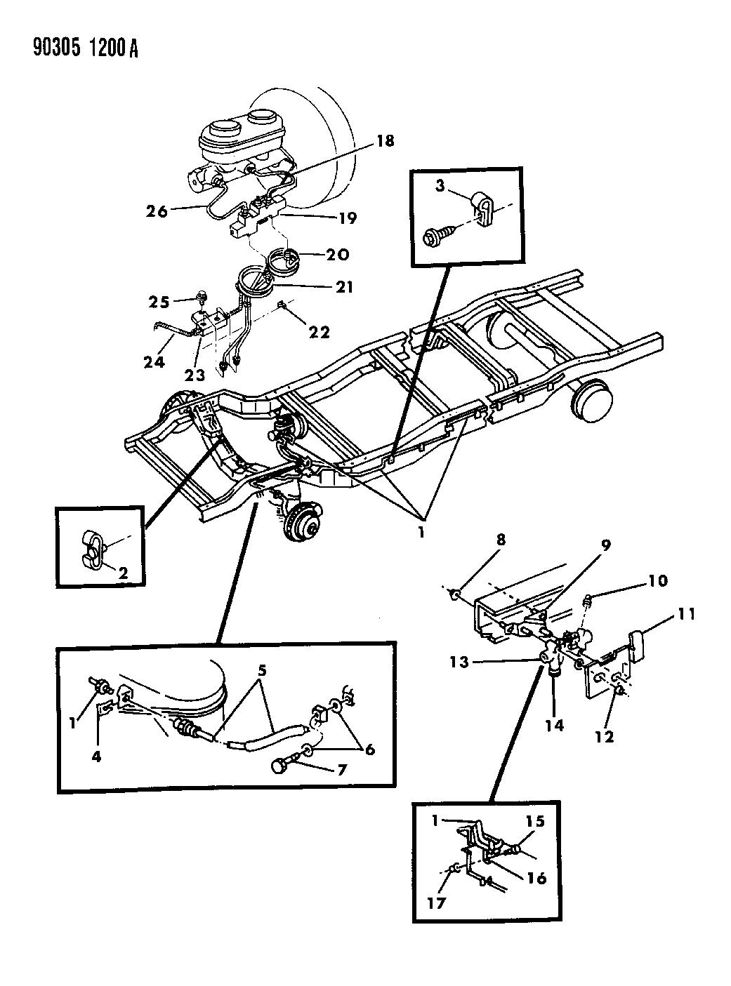 1992 Dodge W150 Lines & Hoses - Brake