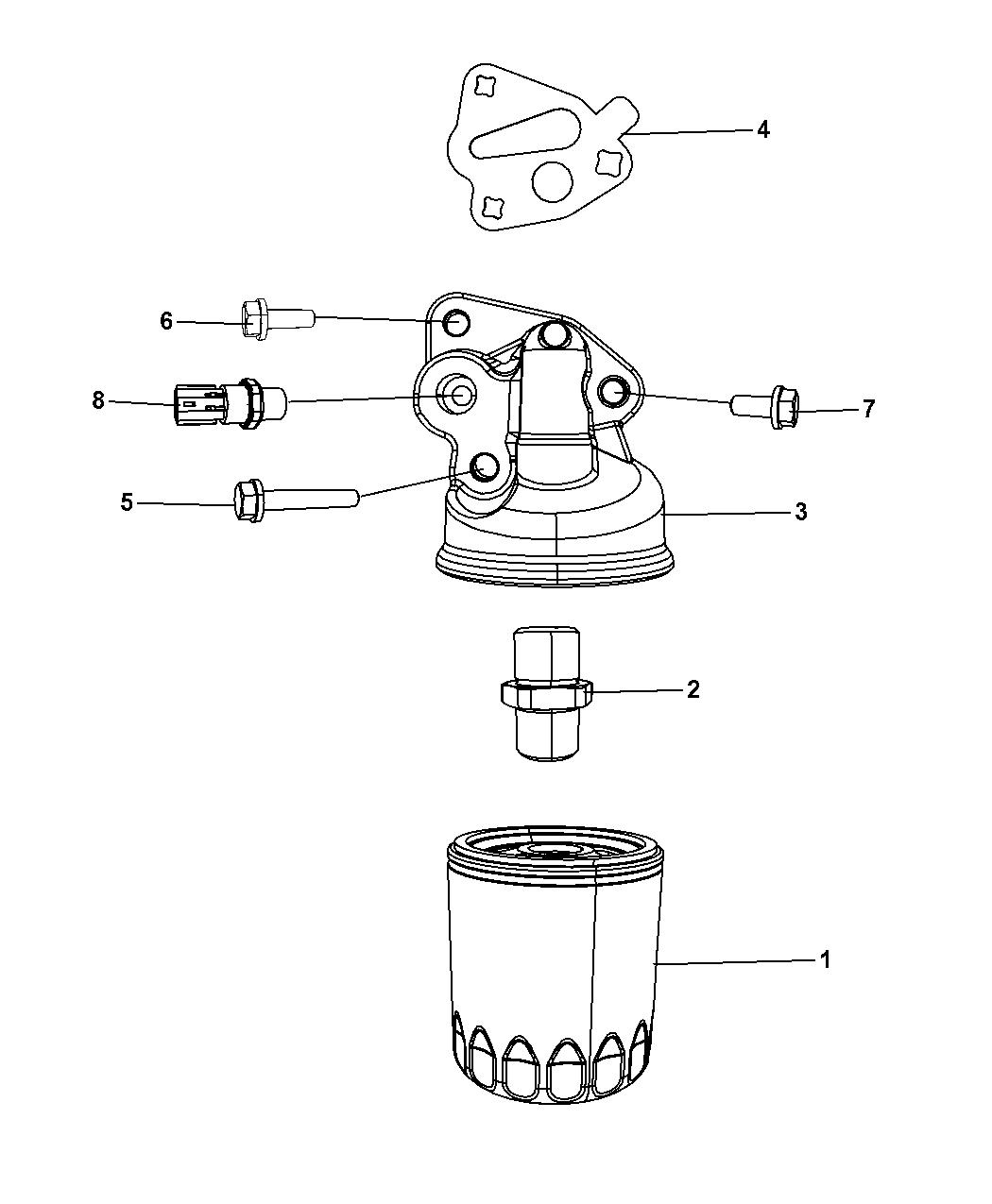 2008 Dodge Grand Caravan Engine Oil Filter Adapter Housing Headlight Wiring Harness Splash Guard Thumbnail