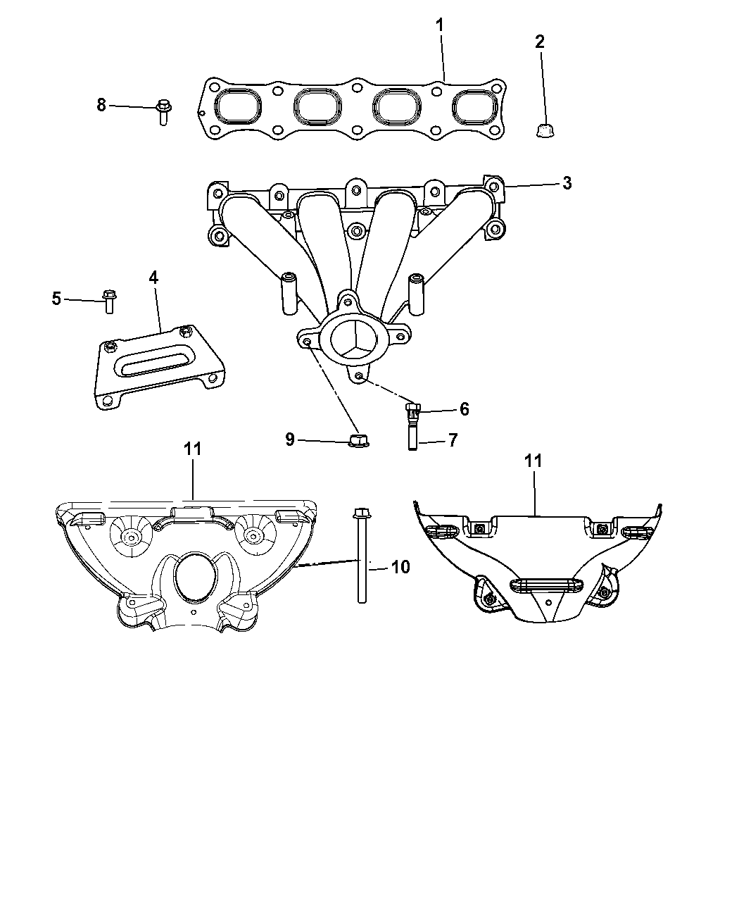 2009 Dodge Avenger Exhaust Manifold Turbo Charger Assembly Heat Engine Diagram Shields Thumbnail 1