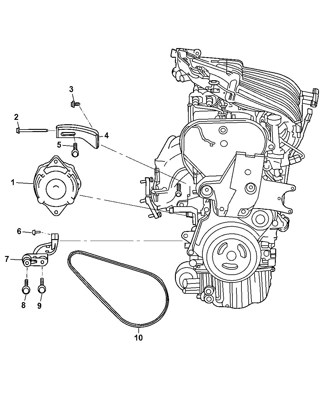4668446AA - Genuine Chrysler BRACKET-ALTERNATOR ADJUSTING
