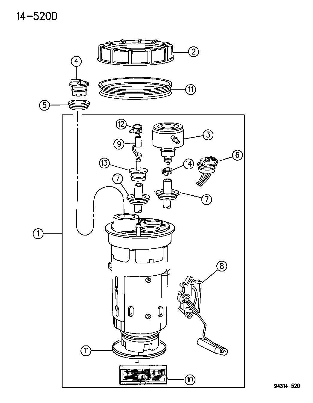 pump fuel Dodge Ram Parts Diagram 1996 dodge ram 1500 fuel module, level unit and filter