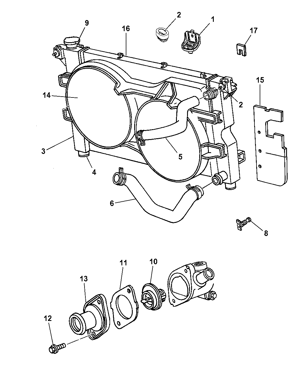2005 Dodge Grand Caravan Radiator Diagram