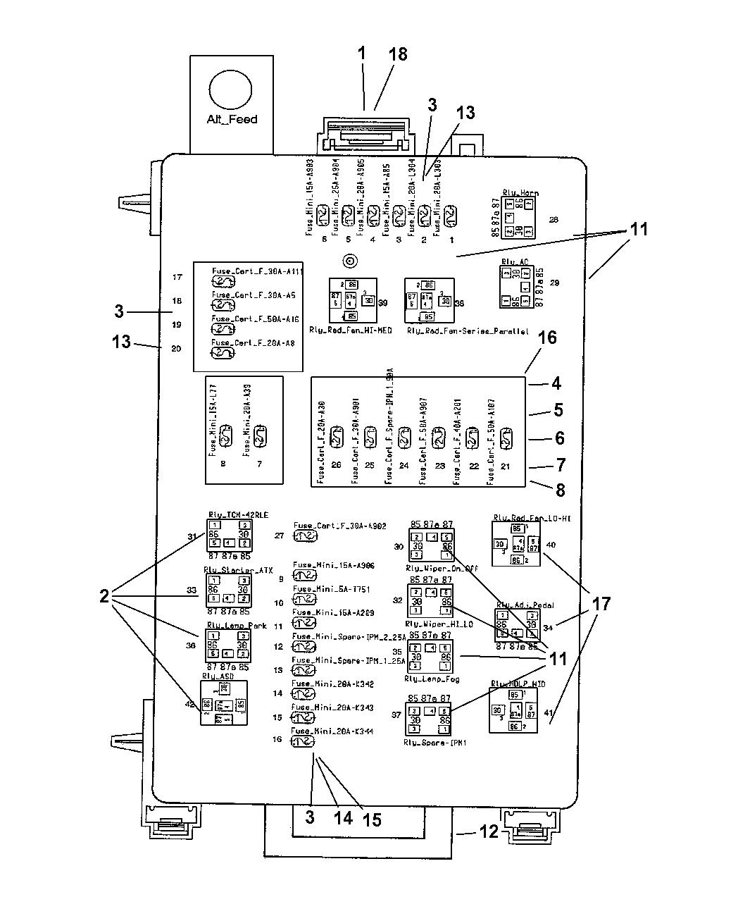 2005 dodge magnum power distribution center relays fuses under hood rh moparpartsgiant com  05 dodge magnum fuse box diagram