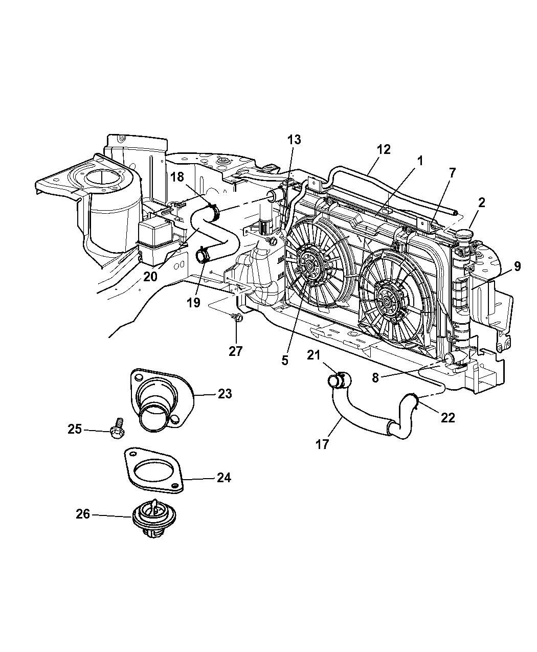 2002 Dodge Grand Caravan Radiator & Related Parts