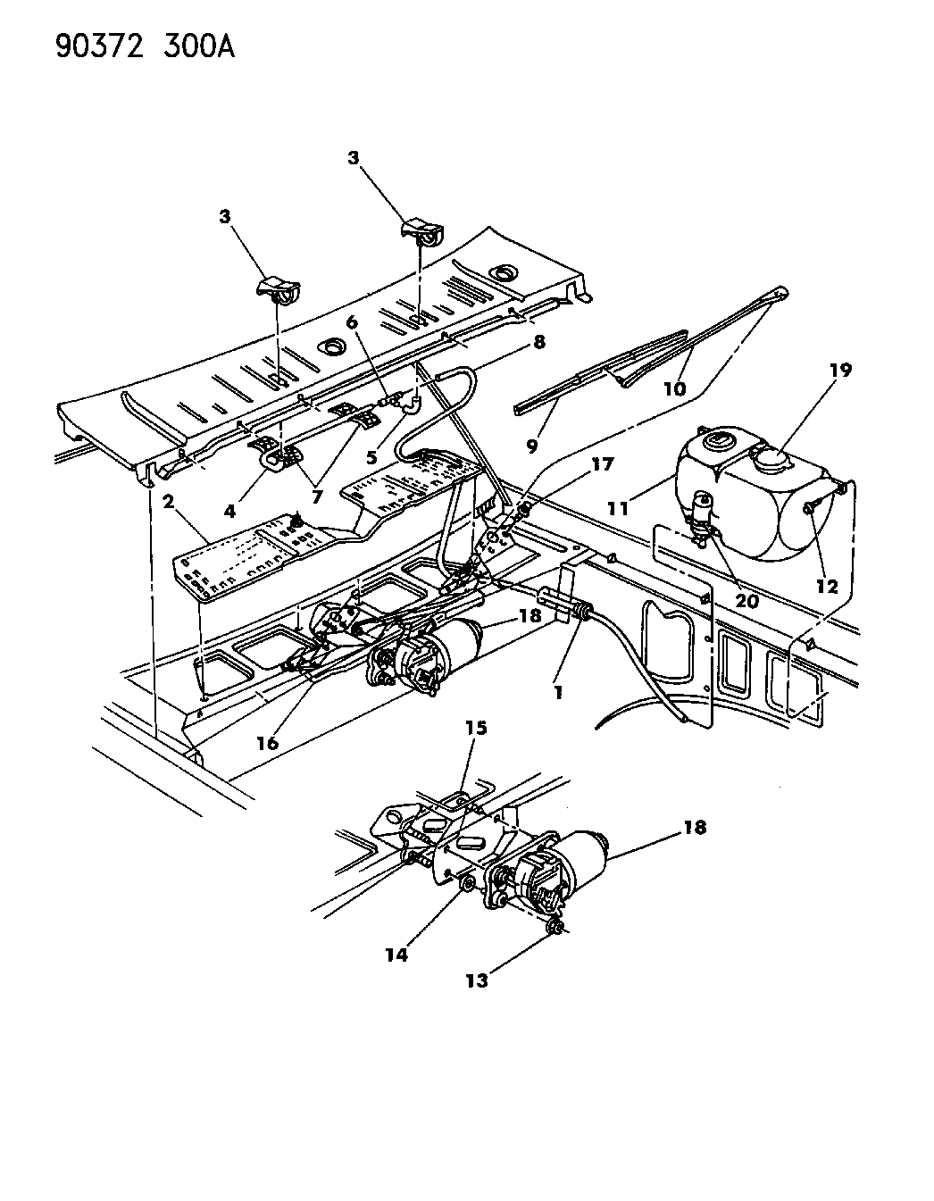 1992 Dodge Dakota Windshield Wiper & Washer System