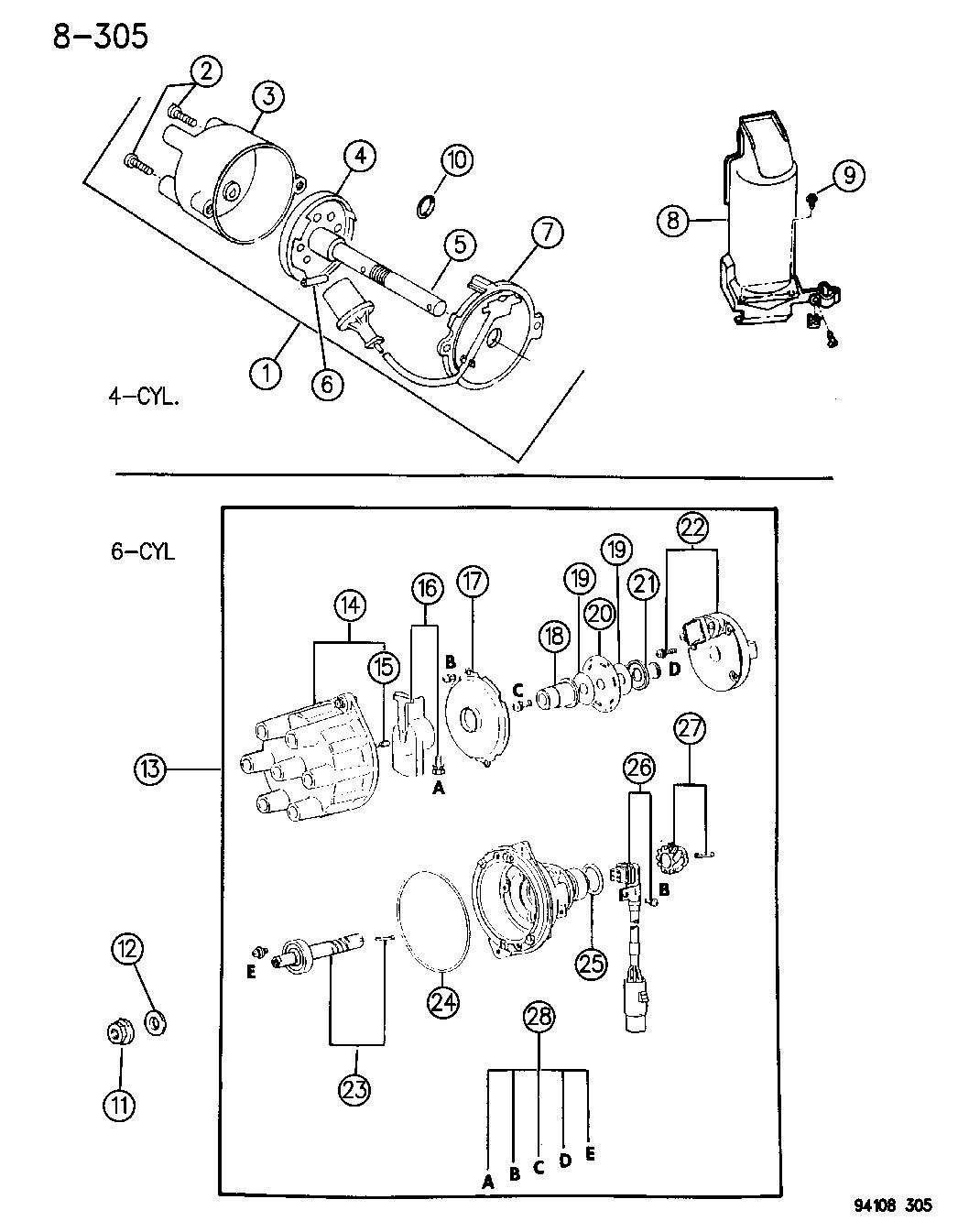 1994 Chrysler Lebaron Gtc Distributor Mopar Parts Giant 94 Wiring Diagram