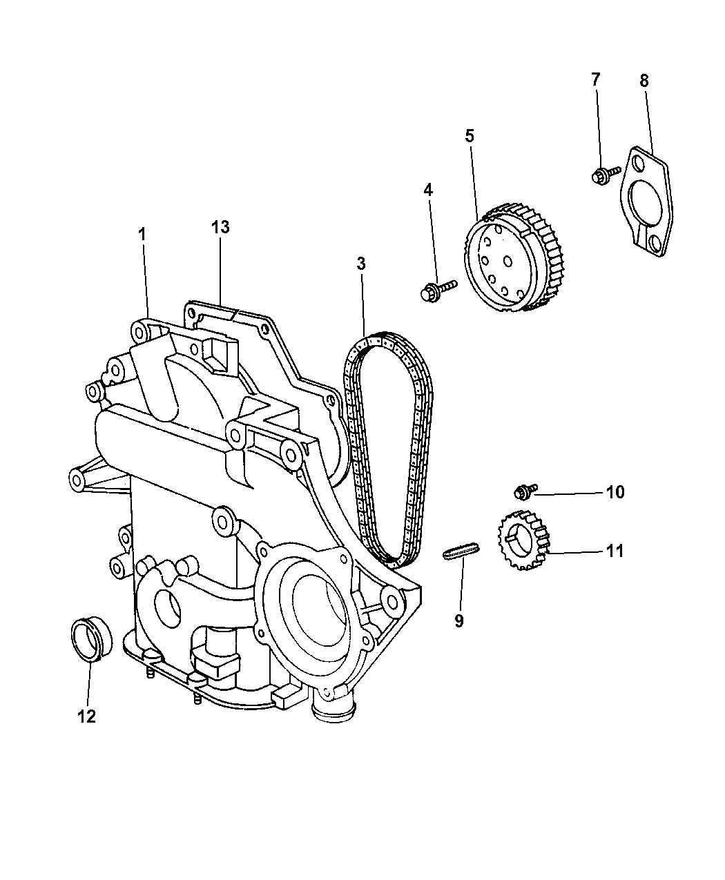 2003 Chrysler Voyager Timing Chain & Cover - Diagram 1