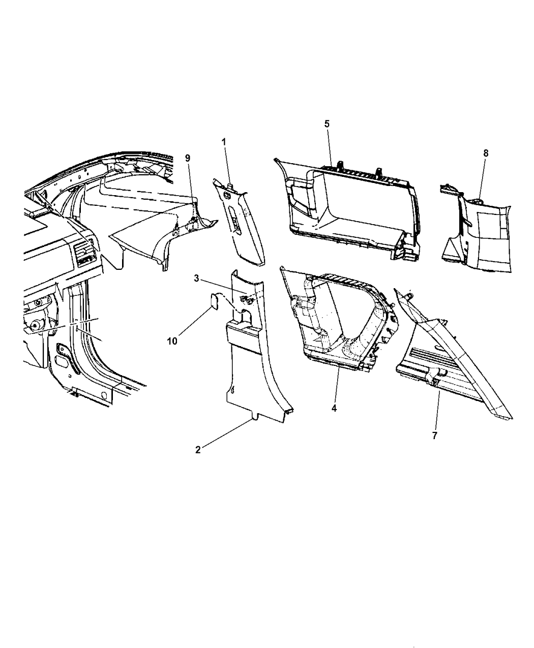 2014 jeep patriot interior moldings and pillars