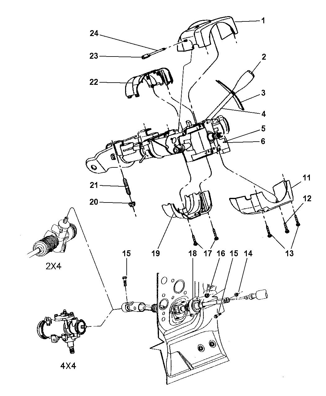 2000 Dodge Dakota Column, Steering, Upper & Lower