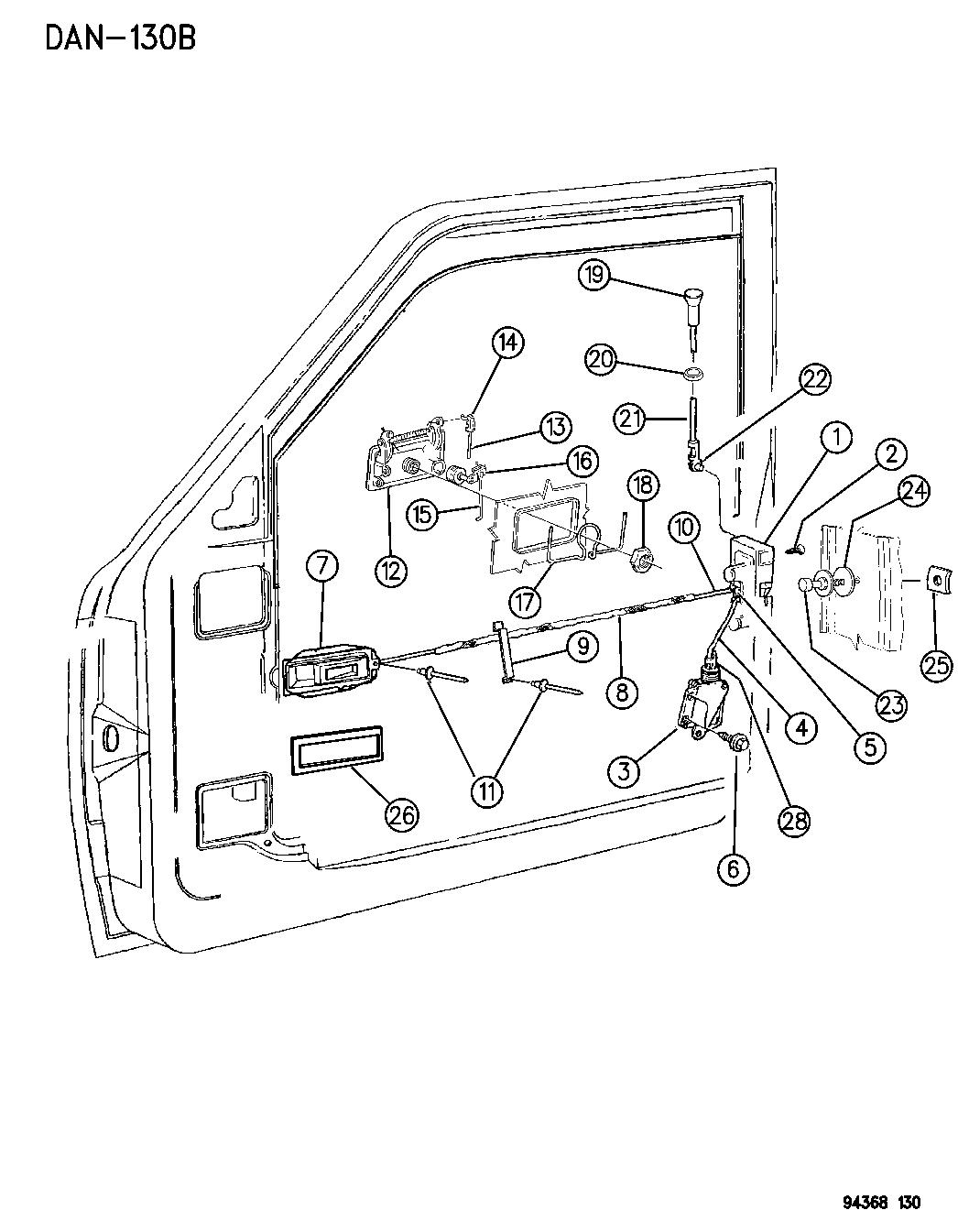 1996 dodge dakota door, front lock & controls