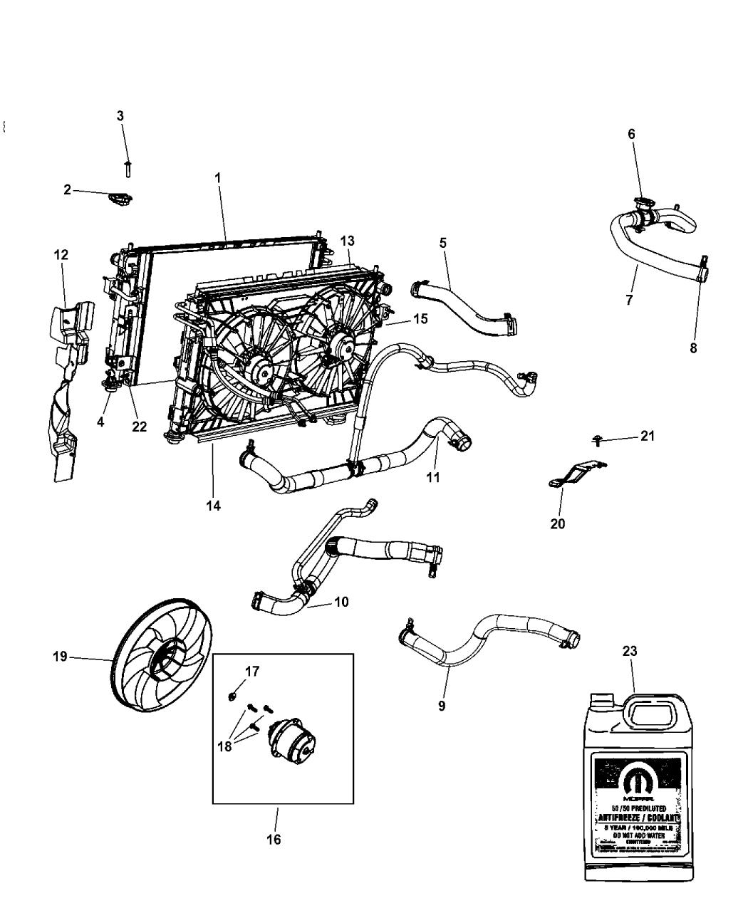2013 chrysler 200 radiator & related parts - mopar parts giant chrysler engine cooling diagram