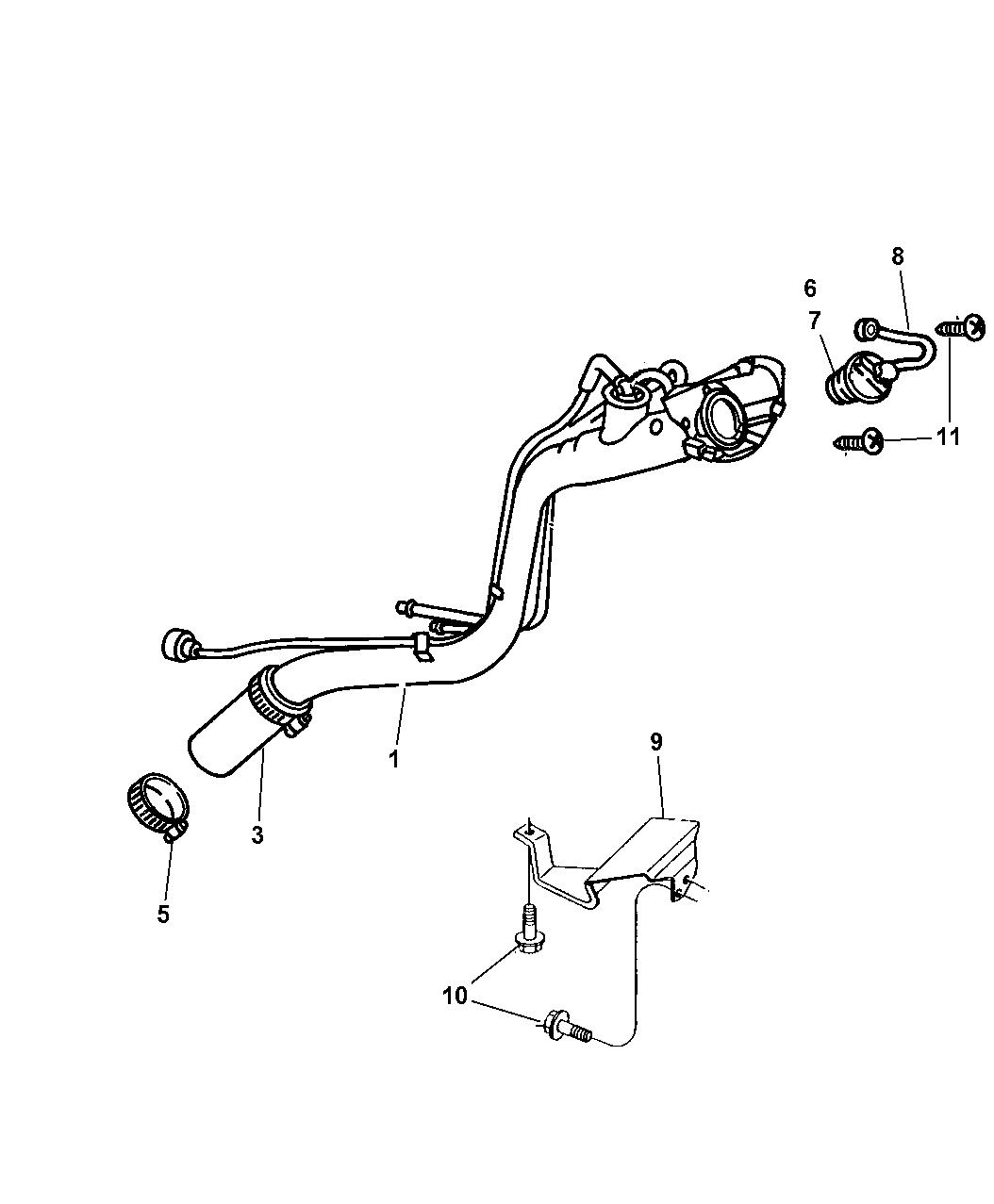 2005 Dodge Grand Caravan Fuel Tank Filler Tube