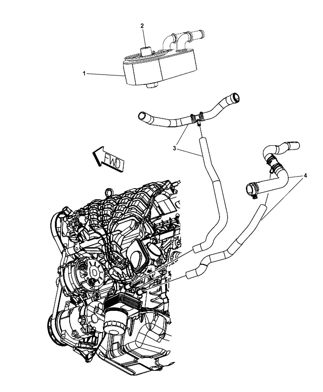 2010 jeep patriot engine oil cooler & hoses/tubes - thumbnail 1