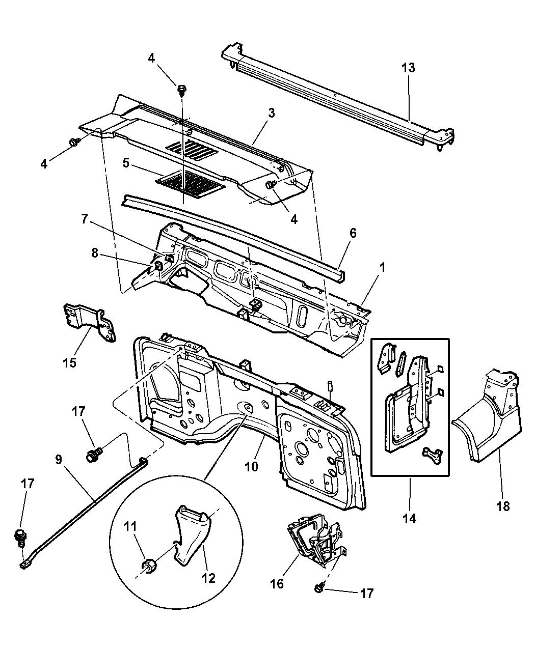 55176092 - genuine mopar cowl panel-cowl side 2002 jeep wrangler engine diagram oil 2002 jeep wrangler dash diagram