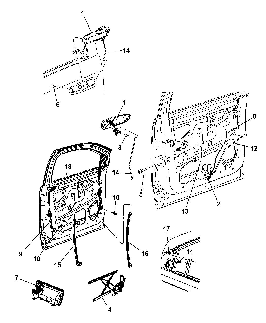 2008 Chrysler Aspen Front Door, Hardware Components