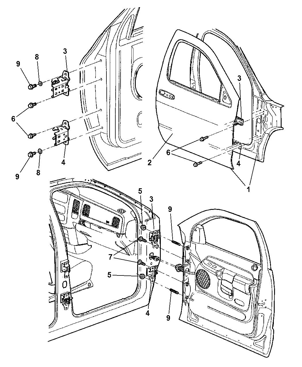 2004 Dodge Ram 1500 Door  Front Shell  U0026 Hinges