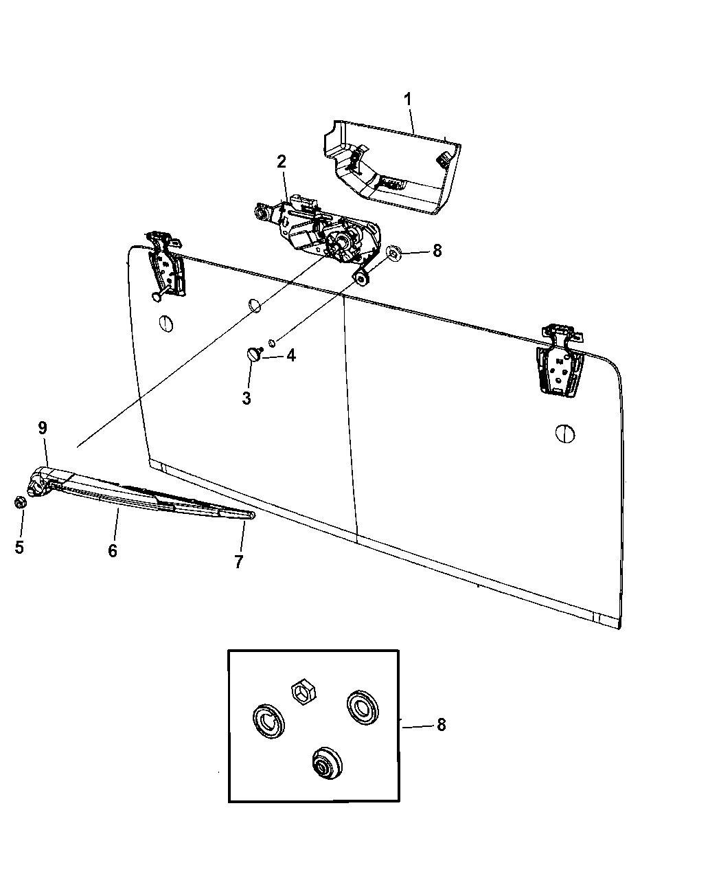 2015 Jeep Wrangler Rear Wiper System