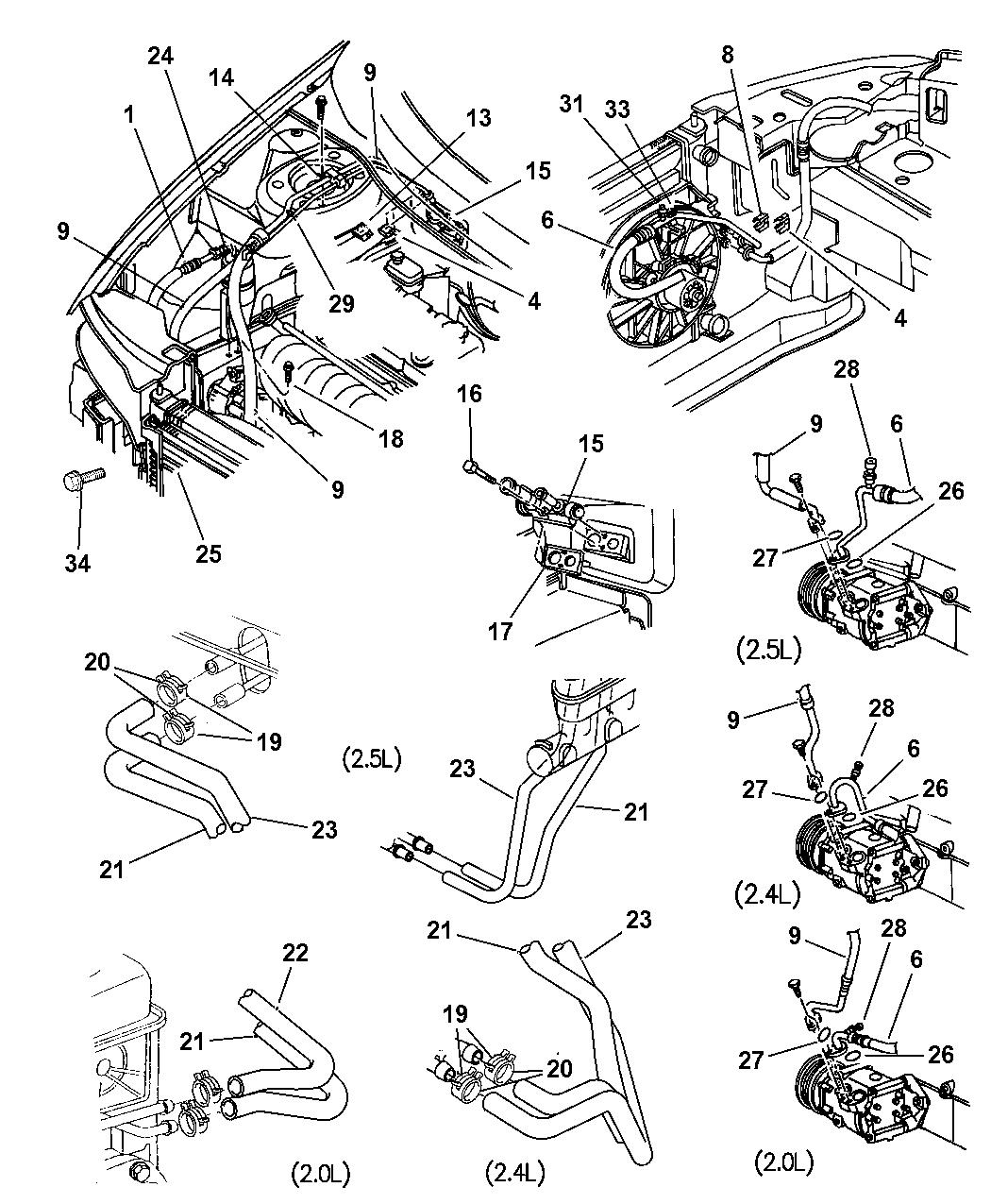 1998 dodge stratus plumbing - heater