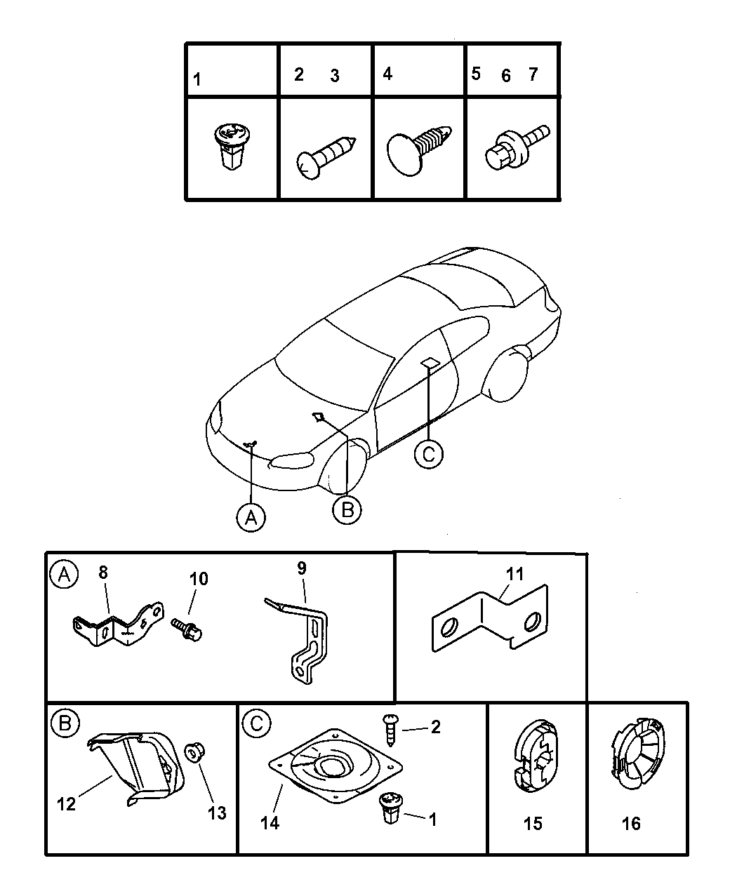 2004 Dodge Stratus Coupe Wiring Brackets Attaching Parts Diagram