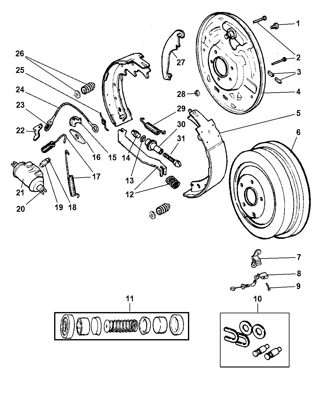 1999 Jeep Wrangler Rear Drum Brakes - Mopar Parts Giant