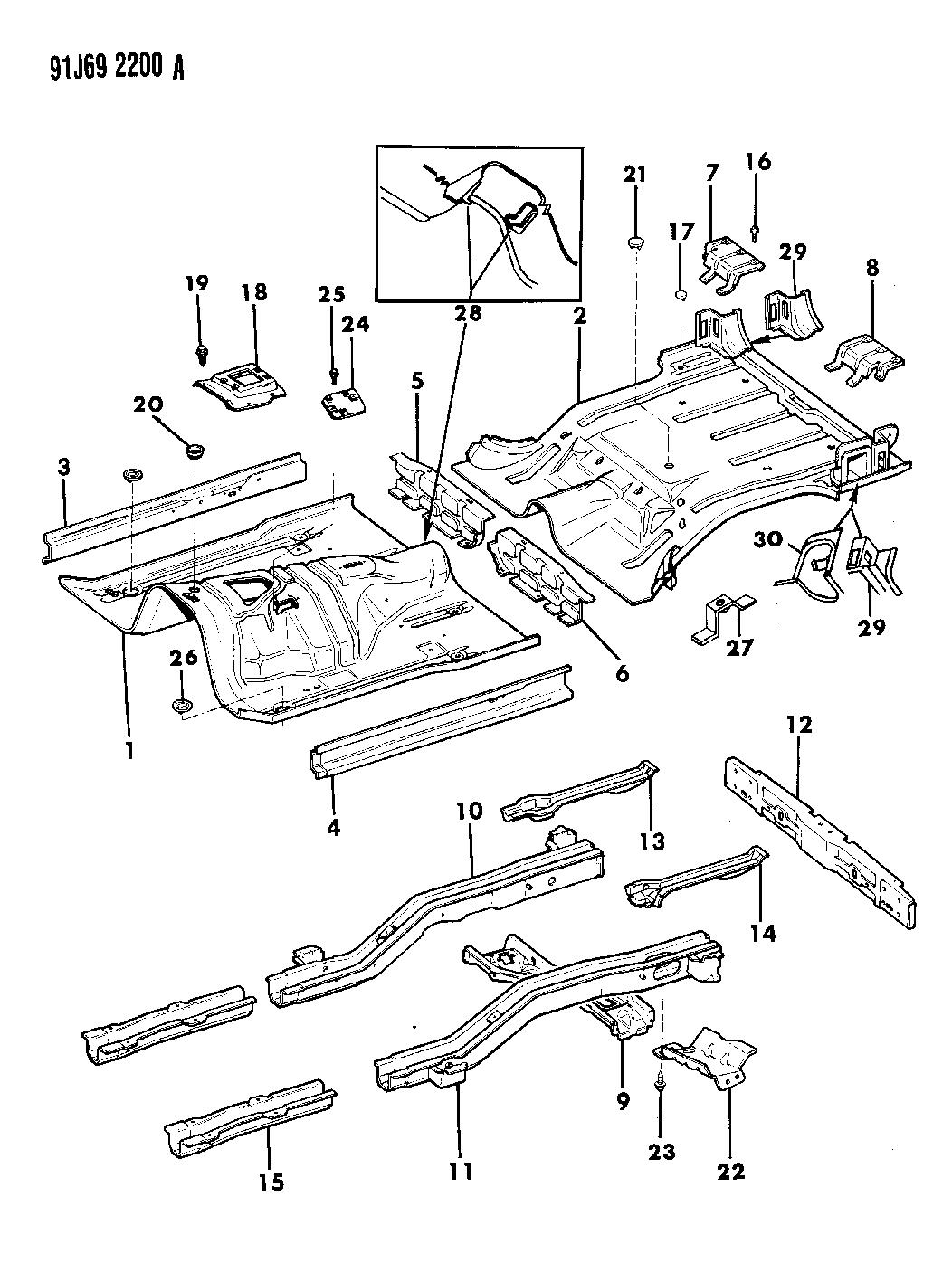 1992 jeep cherokee pans  floor