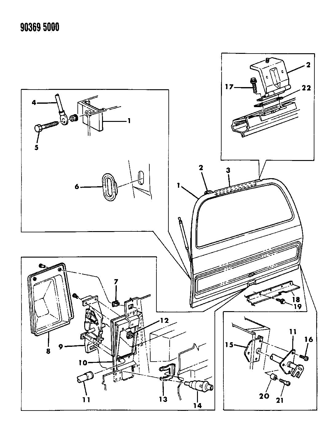 1991 dodge ramcharger hatch gate  u0026 attaching parts