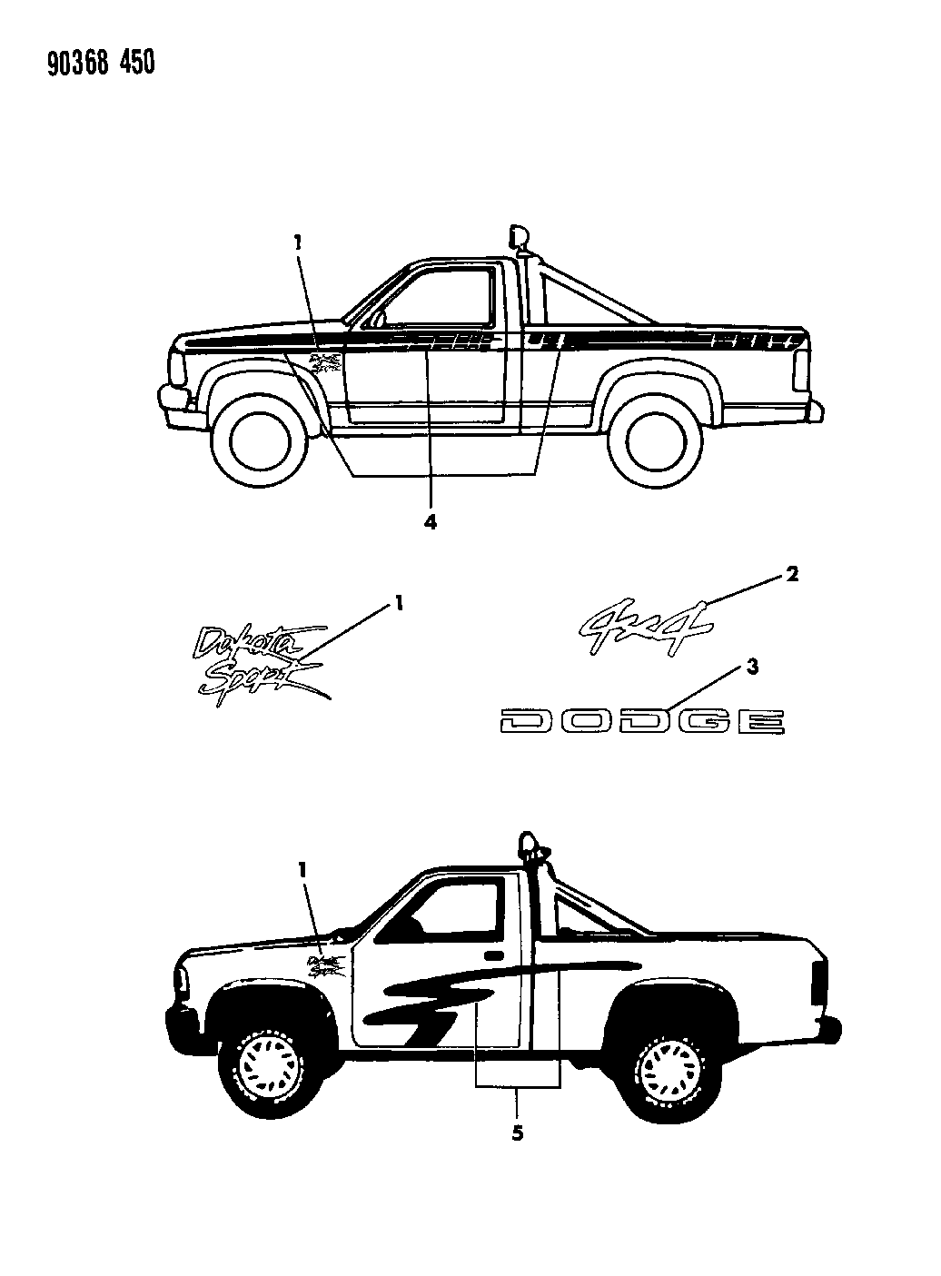 Resource T D Amp S L Amp R Ab C Ee Ccbe F Ccd E Ee Bcd B B B Dc E on 1993 Dodge Dakota Decals