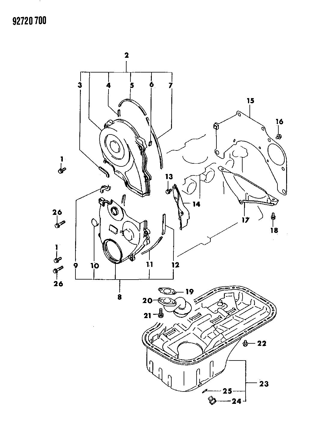1992 dodge colt oil pan & timing belt cover