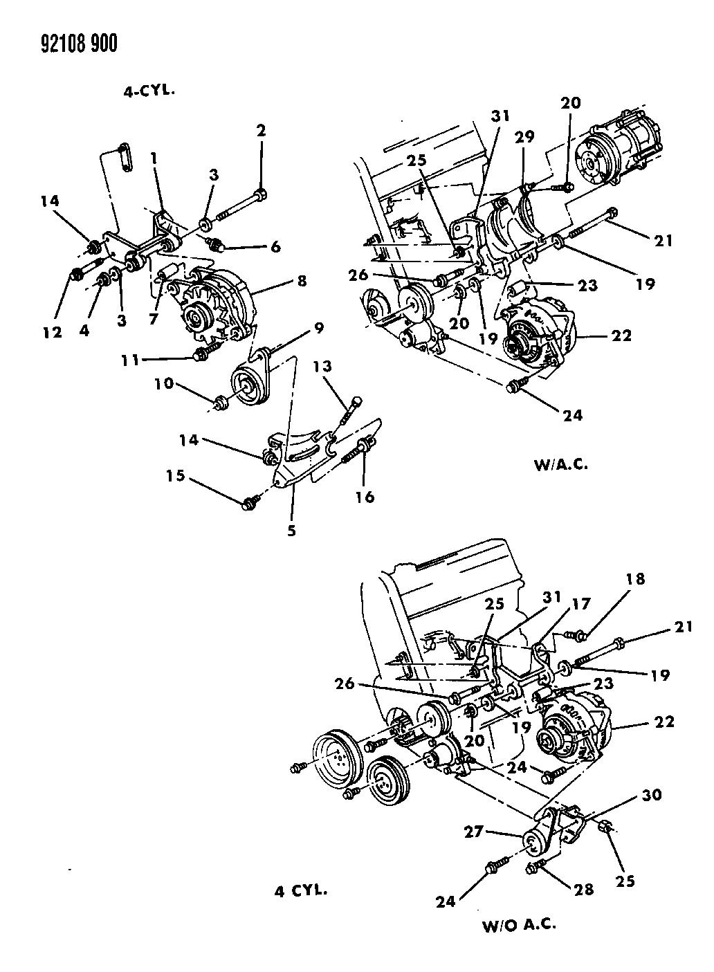 1992 Dodge Spirit Alternator & Mounting - Thumbnail 1