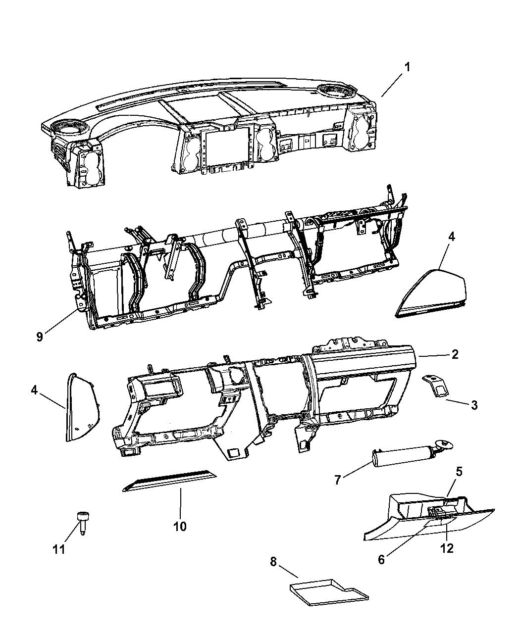 1EK07ZJ8AF - Genuine Jeep PANEL-INSTRUMENT UPPER