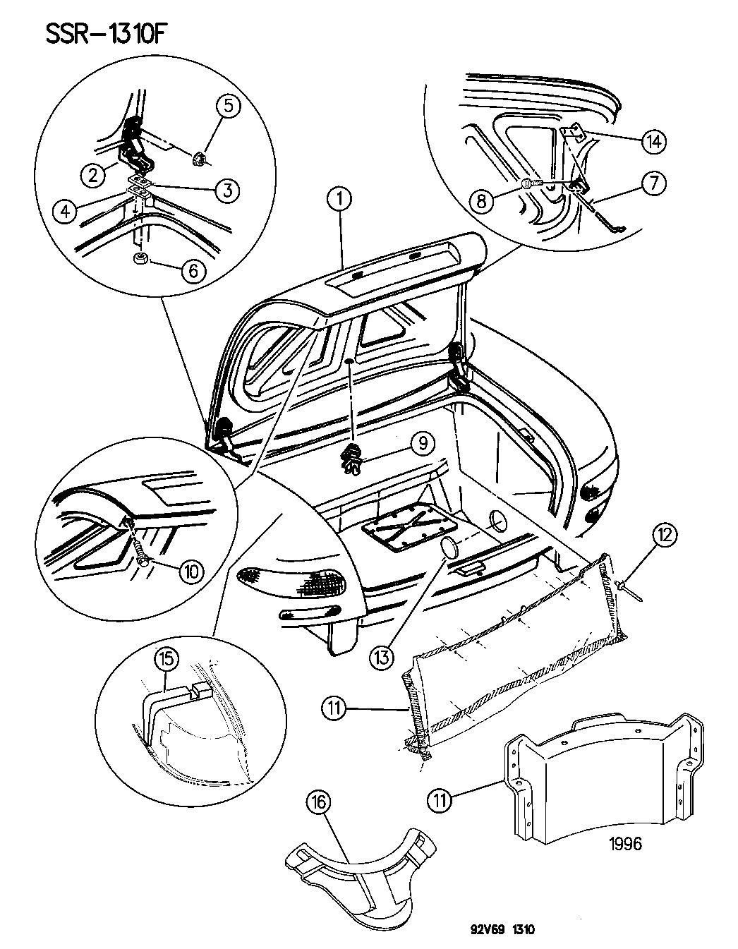 1994 Dodge Viper Deck Lid Viper