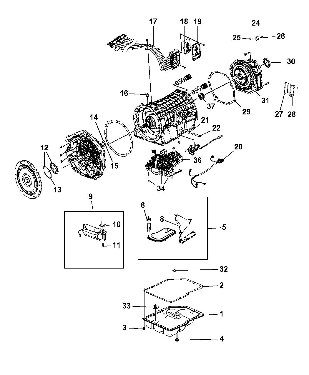 2009 Chrysler Aspen Transmission Serviceable Parts