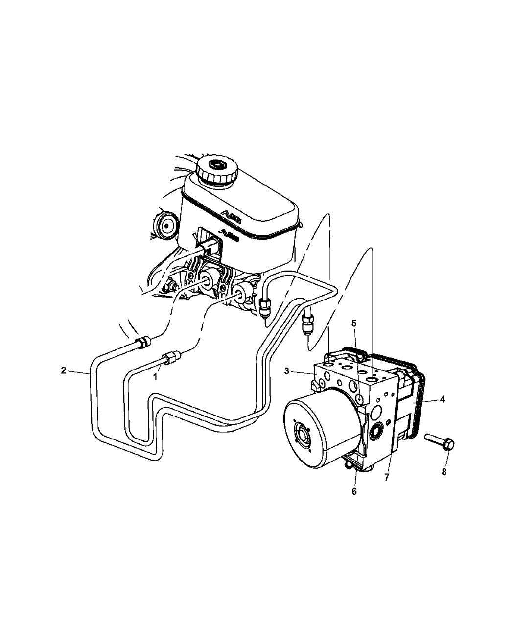 2013 jeep wrangler hydraulic control unit  u0026 brake tubes  to master cylinder