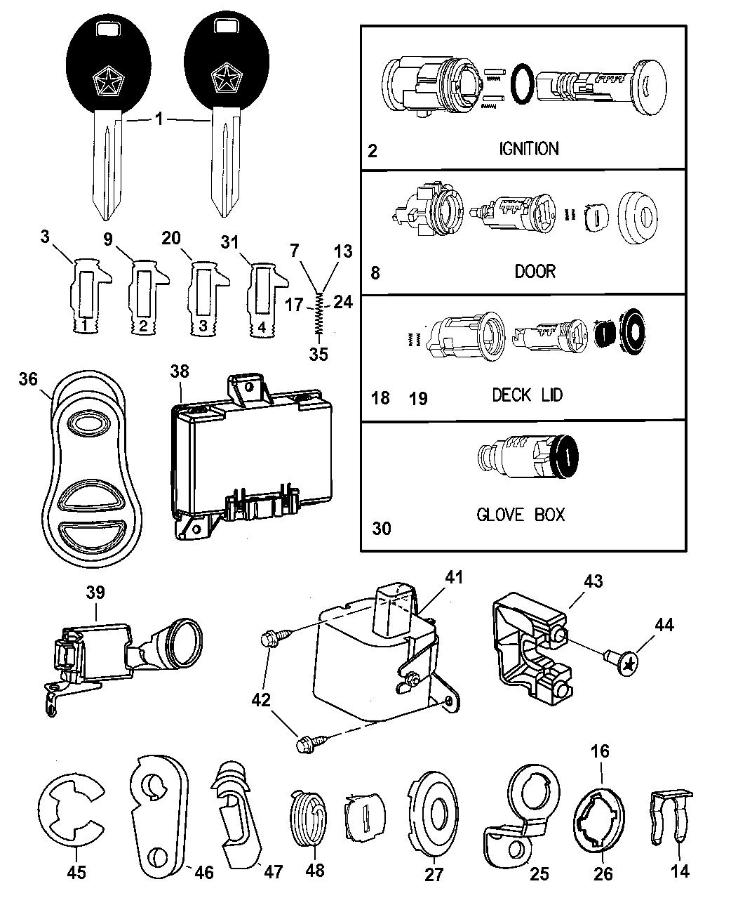 mopar 5003843ab  diagram of chrysler lock cyl #7