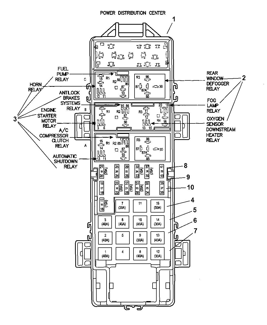 2000 Jeep Wrangler Power Distribution Center Relay Fuses