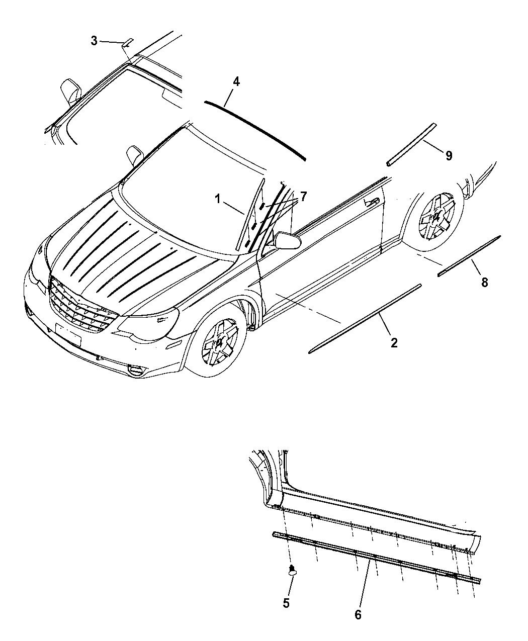 5303680AD  Genuine Chrysler MOLDINGQUARTER OUTSIDE    BELT