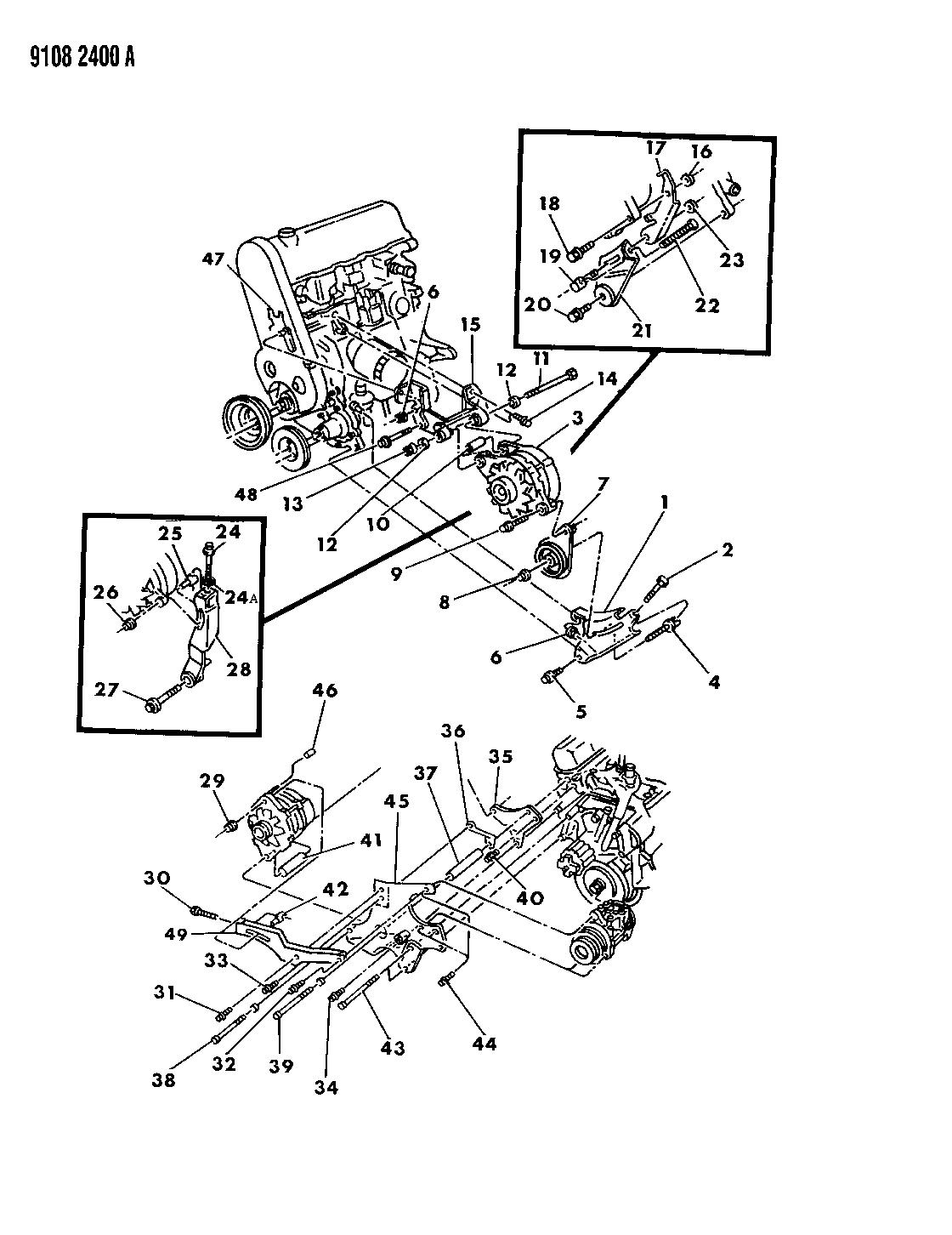 1989 chrysler lebaron gtc alternator mounting rh moparpartsgiant com 1970 Dodge Truck Wiring Diagrams 1970 Dodge Truck Wiring Diagrams