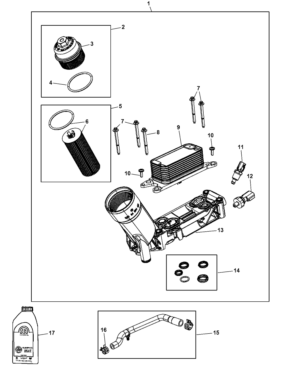 68105583AA - Genuine Jeep ADAPTER-ENGINE OIL FILTER