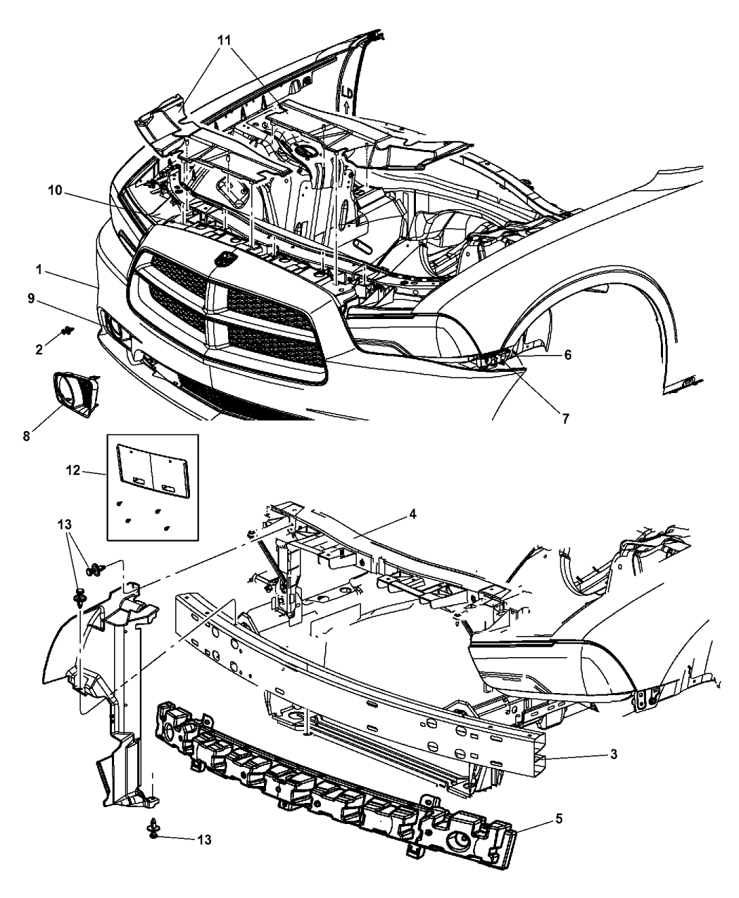 a bumper for dodge charger diagram