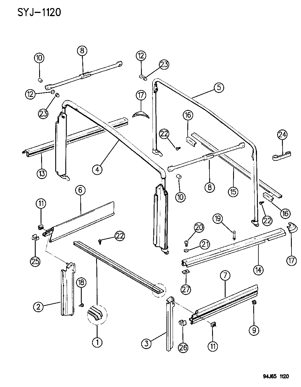 1994 Jeep Wrangler Soft Top Hardware