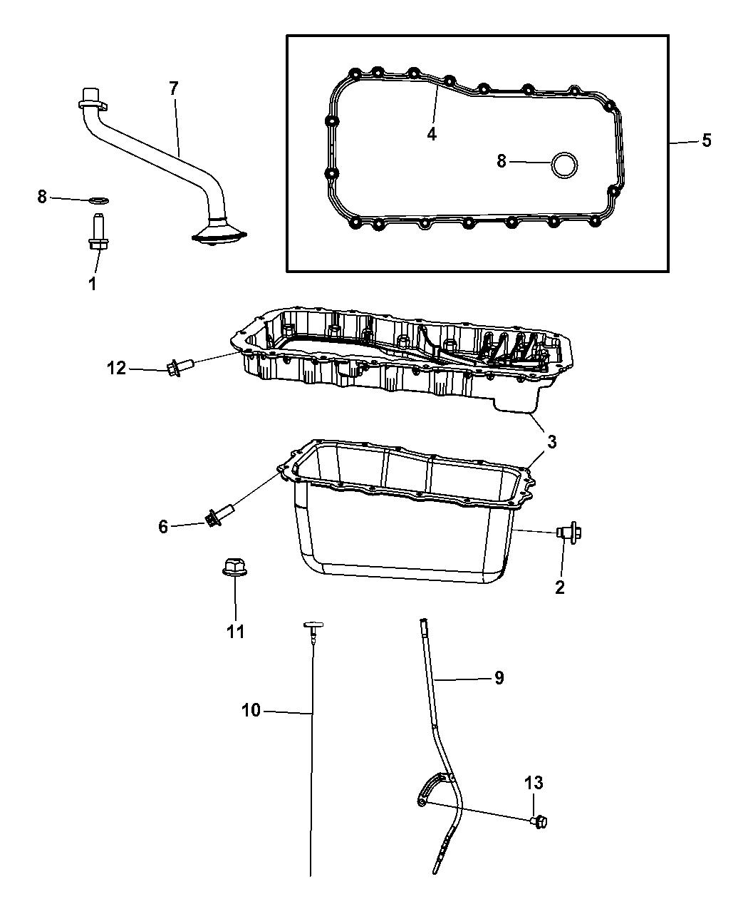 2009 Dodge Grand Caravan Engine Oil Pan & Engine Oil Level Indicator &  Related Parts